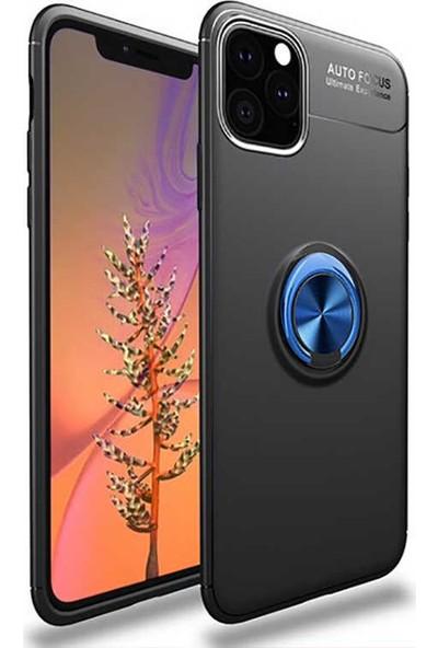 Livadi iPhone 11 Pro Max Kılıf Yüzüklü Araç İçi Mıknatıslı Yeni Nesil Tam Koruma Kılıf - Siyah - Mavi