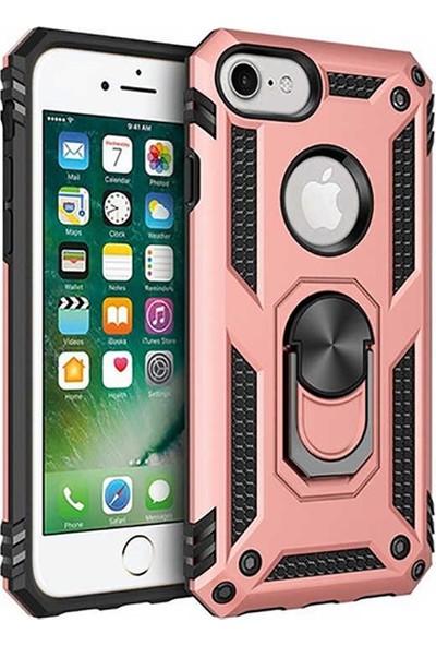 Livadi iPhone 7 Kılıf Vega Yüzüklü Araç İçi Mıknatıslı Yeni Nesil Tam Koruma Kılıf - Rose Gold
