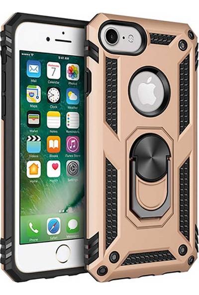 Livadi iPhone 7 Plus Kılıf Vega Yüzüklü Araç İçi Mıknatıslı Yeni Nesil Tam Koruma Kılıf - Gold