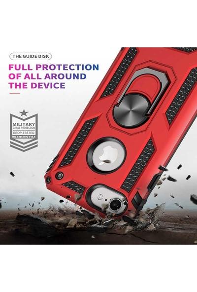 Livadi iPhone 7 Plus Kılıf Vega Yüzüklü Araç İçi Mıknatıslı Yeni Nesil Tam Koruma Kılıf - Siyah
