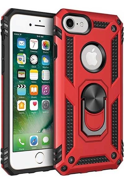Livadi iPhone 8 Kılıf Vega Yüzüklü Araç İçi Mıknatıslı Yeni Nesil Tam Koruma Kılıf - Kırmızı