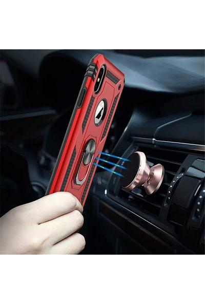 Livadi iPhone X Kılıf Vega Yüzüklü Araç İçi Mıknatıslı Yeni Nesil Tam Koruma Kılıf - Lacivert