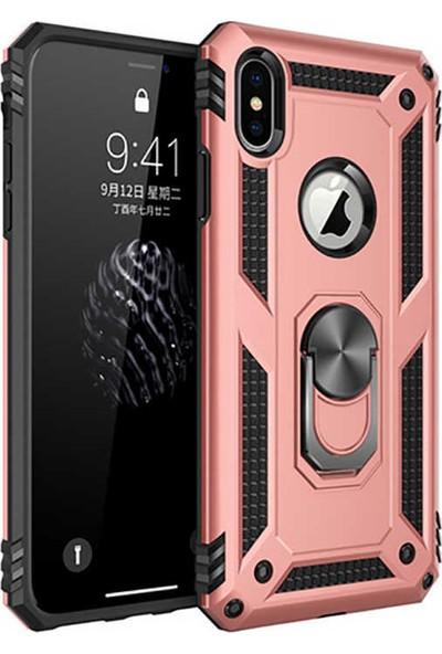 Livadi iPhone X Kılıf Vega Yüzüklü Araç İçi Mıknatıslı Yeni Nesil Tam Koruma Kılıf - Rose Gold