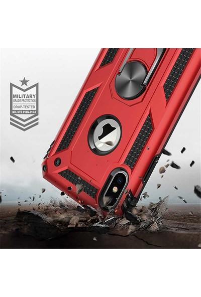 Livadi iPhone XR Kılıf Vega Yüzüklü Araç İçi Mıknatıslı Yeni Nesil Tam Koruma Kılıf - Kırmızı
