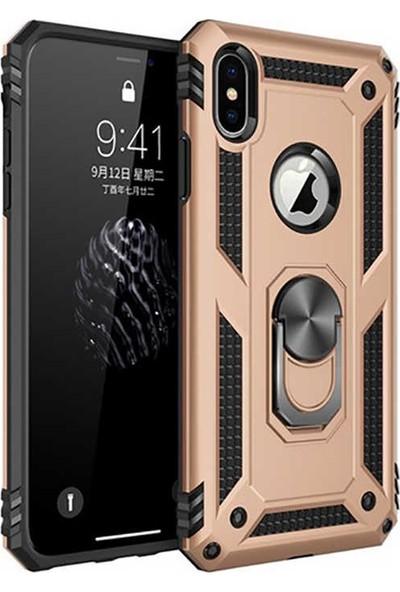 Livadi iPhone XS Kılıf Vega Yüzüklü Araç İçi Mıknatıslı Yeni Nesil Tam Koruma Kılıf - Gold