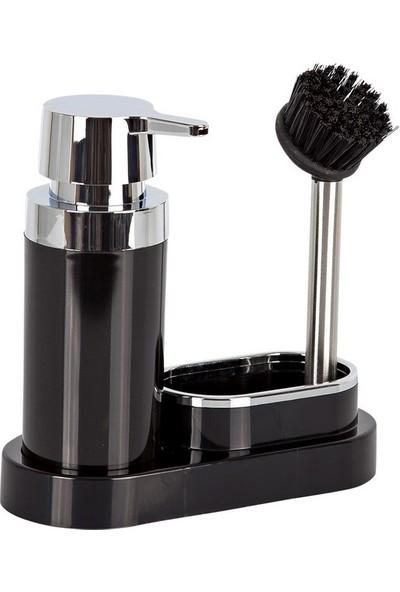 Primanova Polen Mutfak Tip Sıvı Sabunluk Fırçalı Siyah
