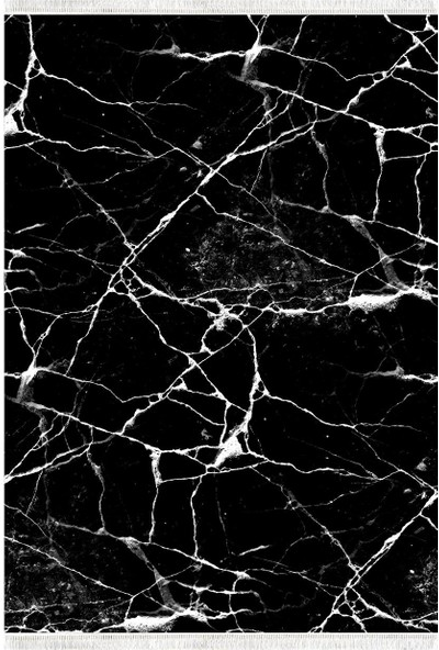 Belemir K414 Mermer Siyah Dekoratif Yıkanabilir Halı