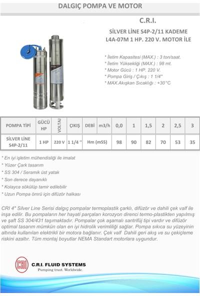 Crı Dalgıç ve Motor Silver Line S4P2111 Hp 220 v Motor