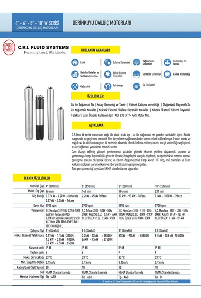 Crı Dalgıç Motor 6 Komple Paslanmaz Çelik 10 Hp 380 v