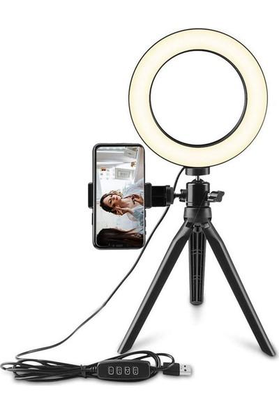 """Saywin Masaüstü Youtuber 360° LED Mini Tripod Makyaj Selfie Işığı 6"""" Halka"""