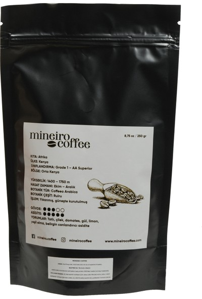 Mineiro Coffee Kenya AA+ Superior Filtre Kahve 250 gr. Öğütülmüş Kahve