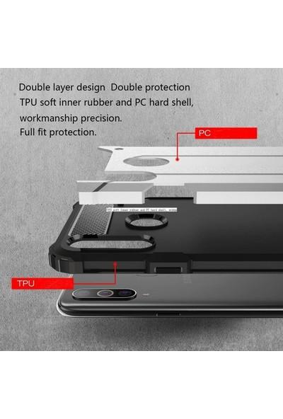 Ehr. Samsung Galaxy A20s Çift Katmanlı Darbe Emici Kılıf Rugged Armor Kılıf Gümüş