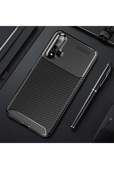 Ehr. Huawei Nova 5T Karbon Brushed Megro Arka Kapak Siyah