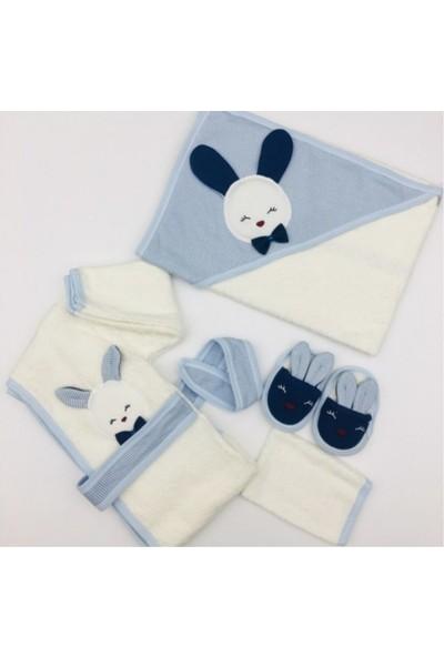 Gaye Bebe 4 Parça Tavşanlı Bebek Bornoz Takımı Mavi