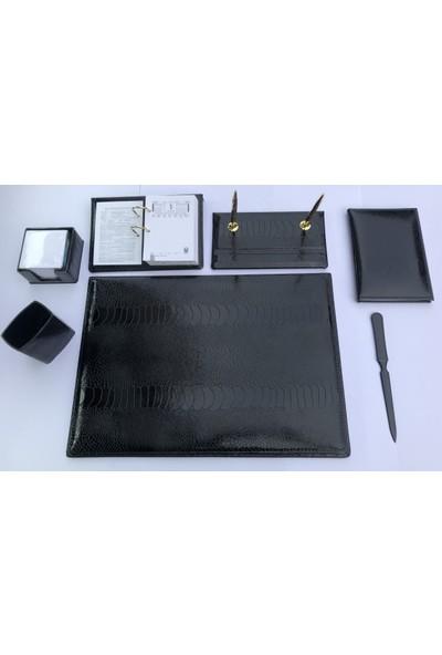 Celal 1020 Lazer Desenli Selpa Deri Sümen Takımı 7 Parça Siyah