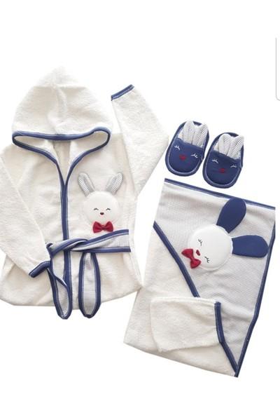Gaye Bebe Tavşanlı 4 Parça Bornoz Takımı Erkek