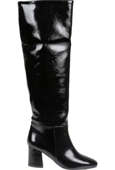 Shalin Kadın Çizme 10200 Siyah Rugan