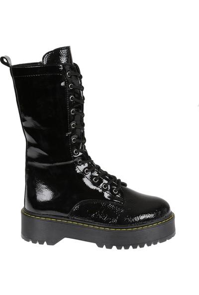 Shalin Kadın Çizme 444 Siyah Rugan