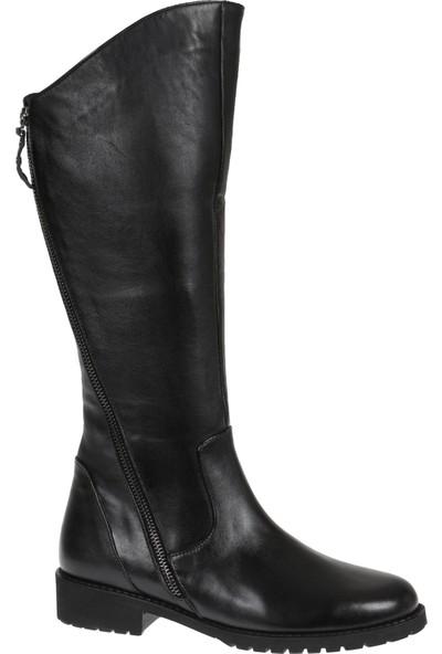 Shalin 44556 Siyah Deri Kadın Çizme