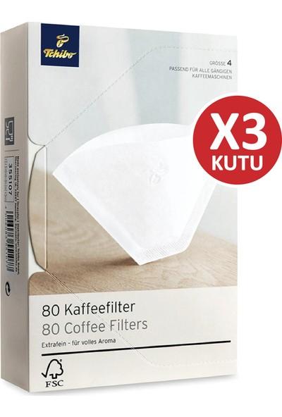 Tchibo 4 Numara (Büyük Boy) Filtre Kahve Kağıdı 3 x 80'li Beyaz