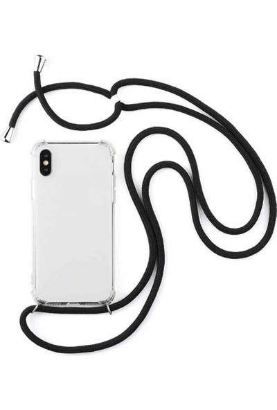 Vip Plus Apple iPhone X Kılıf Boyuna Askılı Silikon Kılıf + Nano Ekran Koruyucu - Şeffaf