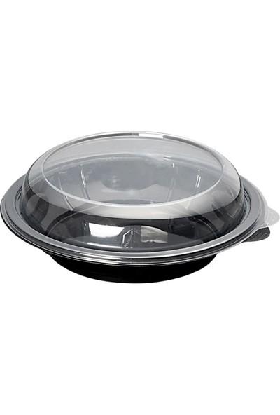 Sofora Yuvarlak Siyah Salata Kabı (Kapaklı)
