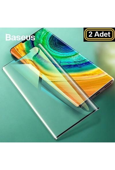 Baseus GHWMATE30P-KR02 Huawei Mate 30 Pro Full Kaplayan Ekran Koruyucu 2 Adet Set Siyah