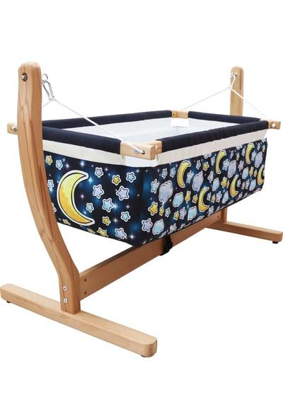 Makeart Baby Anne Yanı Organik Ahşap Bebek Hamak Beşik 00115