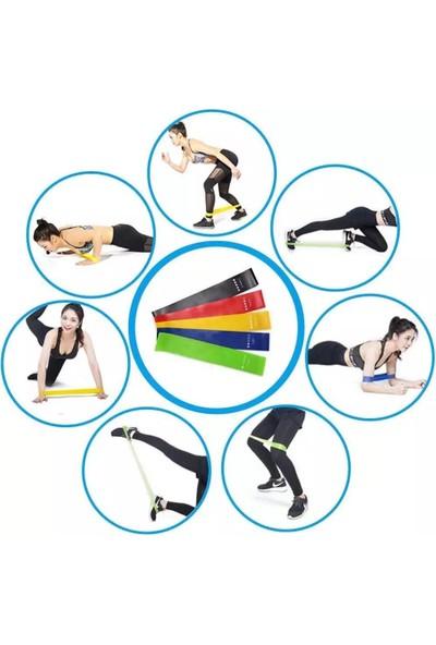 Clifton Pilates Direnç Lastiği Aerobik Yoga Gym Egzersiz Bandı Spor Seti Plates 5'li Bant Seti Profesyonel