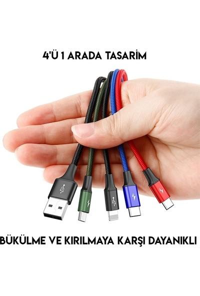 Baseus CA1T4-B01 Rapid Serisi 3.5A 4in1 Lightning/Micro USB/2x Type C Hızlı Şarj Kablosu 1.2 mt Siyah