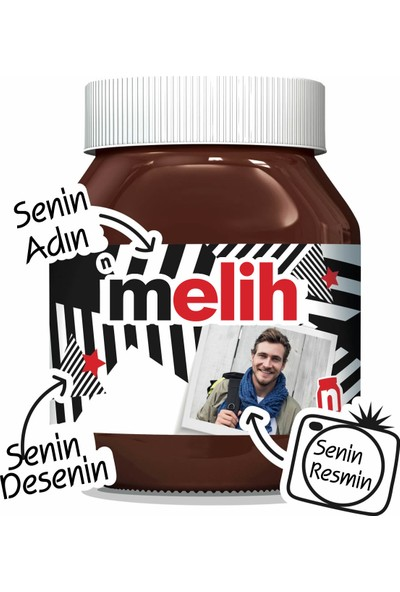 Nutella isme Özel 1 Adet 630 gr (Senin Ismin - Senin Resmin - Senin Desenin)