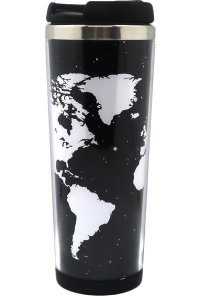 Poyener İçi Çelik Harita Tasarım Termos Bardak Mug 350 ml