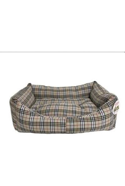 Pet Pretty Ekose Kumaş Kedi ve Köpek Yatağı XL İnce Çizgili