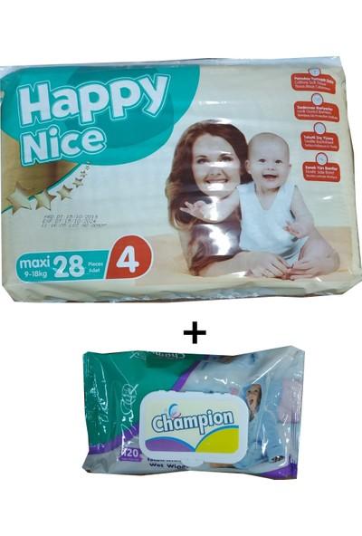 Happy Nice 4 Numara Bebek Bezi 28 9-18 kg ( 120 li Islak Mendil )