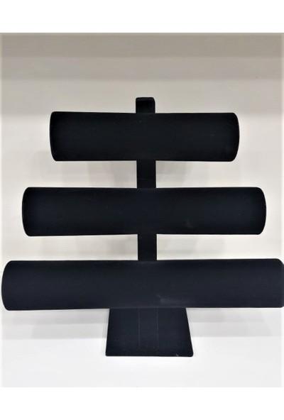 Aydın Dekor Sertex Kumaşı Üçlü Gri Bileklik-Saat Kutu Stand