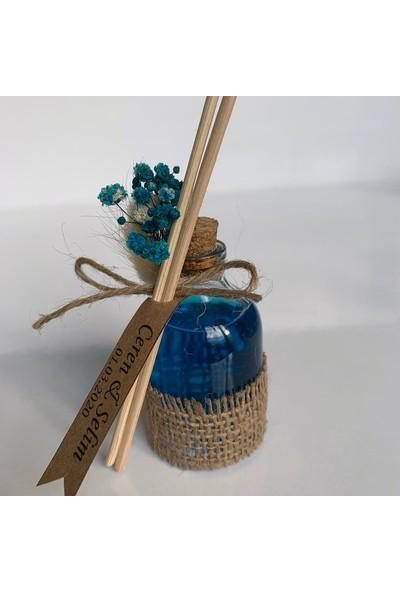Antrasit Organizasyon Bambu Çubuklu 50 cc Oda Kokusu Nikah Nişan Söz Bebek Şekeri Hediyelik 20'li Mavi