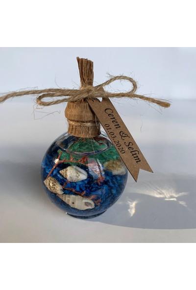 Antrasit Organizasyon Yakılabilir Yuvarlak Şişe Kandil Nikah Nişan Söz Bebek Şekeri Hediyelik 20'li Mavi