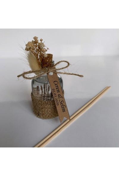 Antrasit Organizasyon Bambu Çubuklu 50 cc Oda Kokusu Nikah Nişan Söz Bebek Şekeri Hediyelik 20'li Beyaz