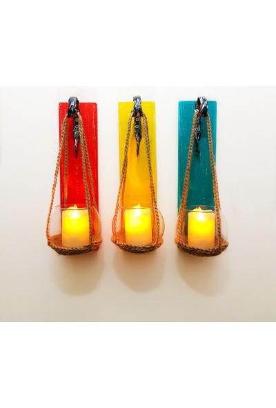 ST Dekor Kırmızı Sarı Mavi Renk Panel LED Mumlu Aplik Üçlü Set