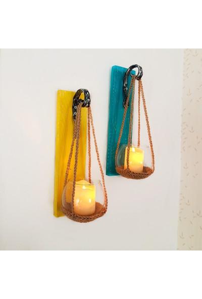ST Dekor Sarı ve Mavi Renk Panelli LED Mumlu Ikili Set