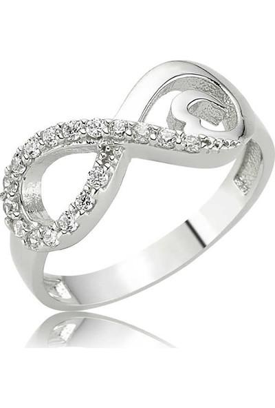 Kalpli Sonsuzluk Bayan 925 Ayar Pirmoda Gümüş Yüzük