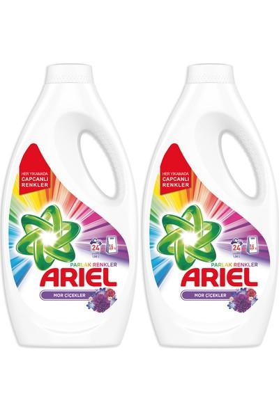 Ariel Sıvı Çamaşır Deterjanı Mor Çiçekler 24 Yıkama 2'li Paket