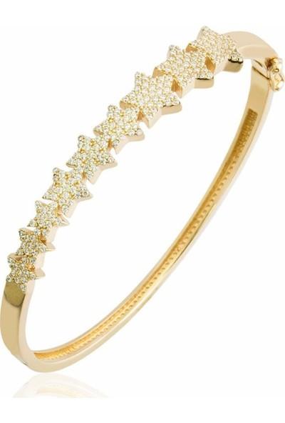 Pirmoda Sıra Yıldızlar Altın Sarısı 925 Ayar Pirmoda Gümüş Bilezik