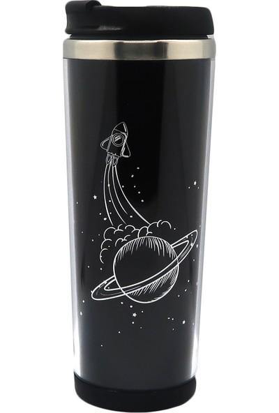 Poyener Içi Çelik Satürn Tasarım Termos Bardak Mug 350 ml