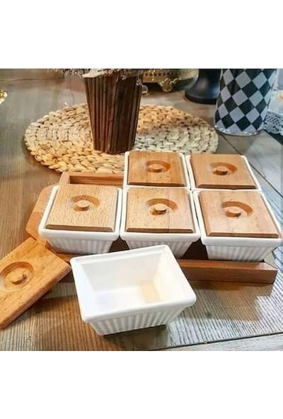 Tepe Home Bambu Tepsili 6'lı Porselen Kahvaltı Takımı
