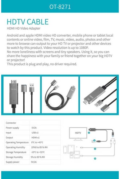 Go-Des GD-8271 3in1 Fhd Kablo Ligthning - Micro USB - Type-C Connector