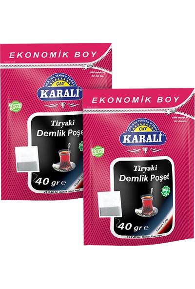 Karali Tiryaki Jumbo Demlik Poşet Siyah Çay 25 x 40 gr 2 Adet