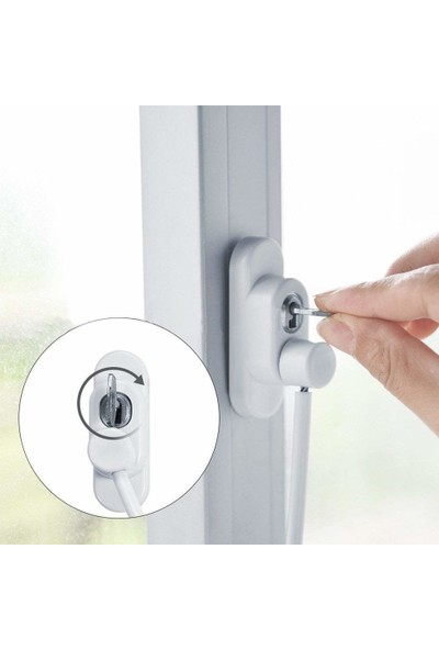 Deaks Kablolu Pvc Pencere Çelik Emniyet Kilidi 2 Adet Beyaz