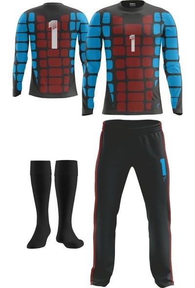 Freysport Bordo Mavi Retro Kaleci Forması - Forma Uzun Alt Çorap
