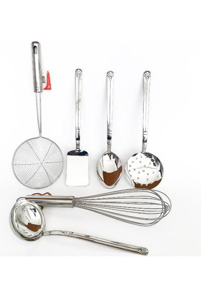 Çeliksan Servis Seti, Mutfak Seti, 6 Parça Çelik Set, Kepçe, Kevgir, Spatula, Kaşık, Çırpıcı,paslanmaz Çelik